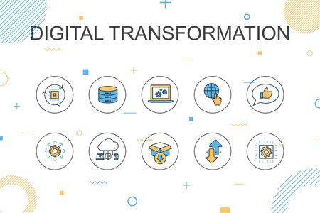 digital transformation trendy Infographic template. Thin line design with digital services, internet, cloud computing, technology Çizim