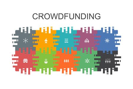 Crowdfunding cartoon template with flat elements. Contains such icons as startup, product launch, funding platform, community Ilustracja
