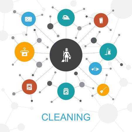 Cleaning trendy web concept with icons. Contains such icons as broom, trash can, sponge, dry cleaning Ilustracja