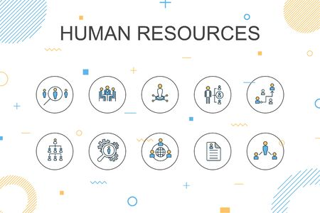 Human resources trendy Infographic template. Thin line design with job interview, hr manager, outsourcing, resume Illustration