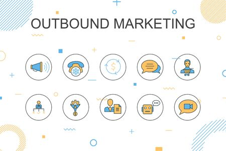 outbound marketingtrendy Infographic template. Thin line design with Conversion, Customer, Lead Generation, Cold Calling