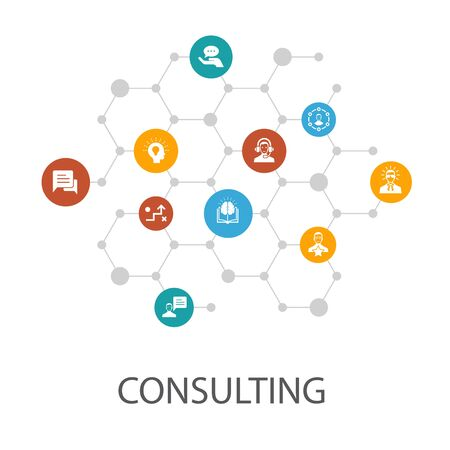 Consulting presentation template, cover layout and infographics.Expert, knowledge, experience, consultant icons