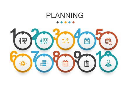 planning Infographic design template calendar, schedule, timetable, Action Plan simple icons
