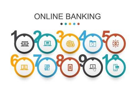 online banking Infographic design template funds transfer, mobile banking, online transaction, digital money simple icons