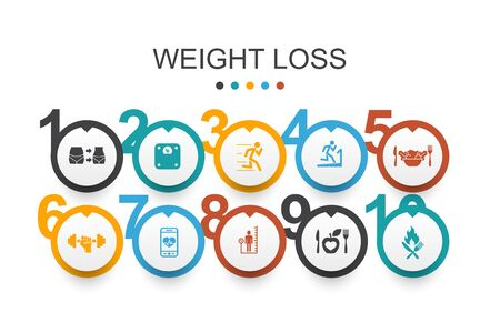 weight loss Infographic design template body scale, healthy food, gym, diet simple icons Illusztráció