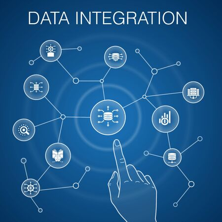 Data integration concept, blue background.database, data scientist, Analytics, Machine Learning simple icons