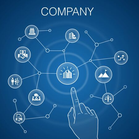 company concept blue background. office, investment, meeting, contract icons