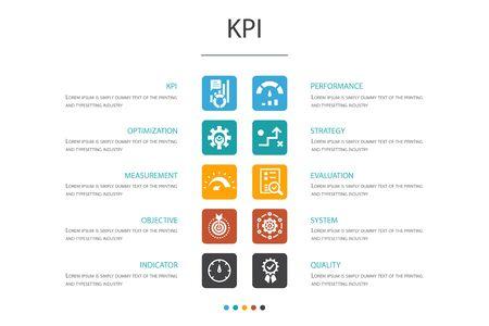 KPI Infographic 10 option concept.optimization, objective, measurement, indicator simple icons