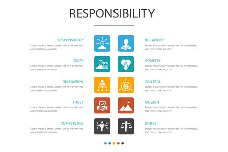 responsibility Infographic 10 option concept.delegation, honesty, reliability, trust