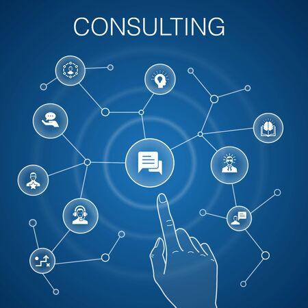 Konsultacji koncepcja niebieskie tło. Ekspert, wiedza, doświadczenie, konsultant proste ikony