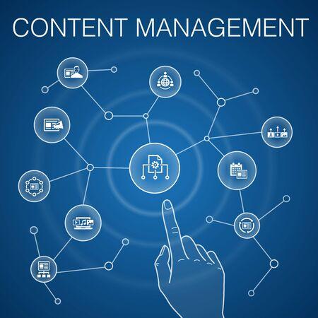 Content Management concept, blue background. Illustration