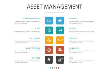 gestion des actifs Infographie 10 option concept.audit, investissement, affaires, icônes de stabilité