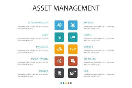 asset management Infographic 10 option concept.audit, investment, business, stability icons
