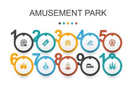 amusement park Infographic design template.Ferris wheel, Carousel, Roller coaster, carnival icons