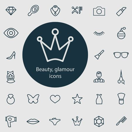 beauty, glamour outline, thin, flat, digital icon set for web and mobile. Stock Illustratie
