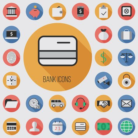 bank flat, digital icon set with long shadow effect for web and mobile.