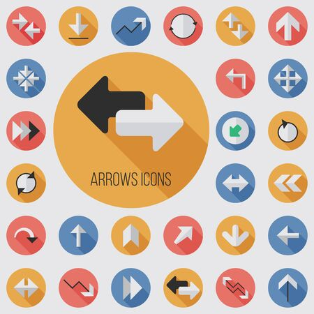 Arrows flat, digital icon set Illustration