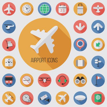 airport flat, digital icon set 일러스트