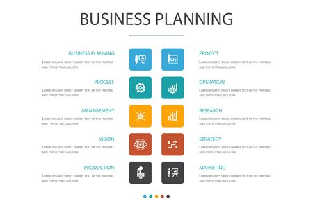 Business planning Infographic 10 option concept.management, project, research, strategy icons