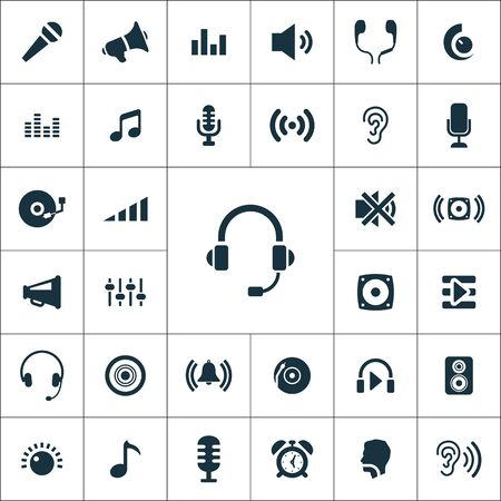 audio icons universal set for web and mobile Ilustrace