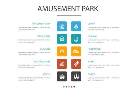 amusement park Infographic 10 option concept.Ferris wheel, Carousel, Roller coaster, carnival icons Illustration