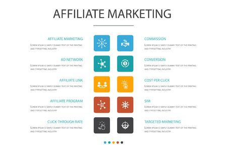 affiliate marketing Infographic 10 option concept.Affiliate Link, Commission, Conversion, Cost per Click simple icons