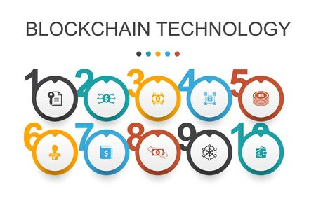 blockchain technology Infographic design template.cryptocurrency, digital currency, smart contract, transaction icons Illustration