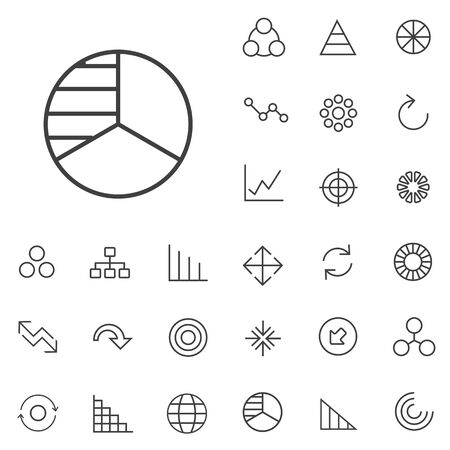 diagram outline, thin, flat, digital icon set