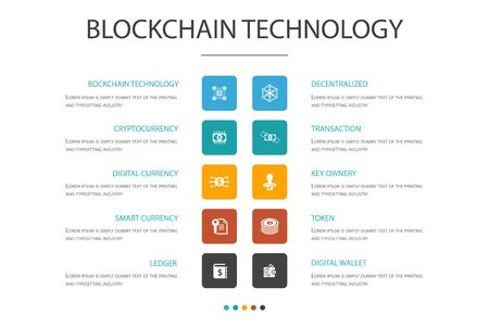 blockchain technology Infographic 10 option concept.cryptocurrency, digital currency, smart contract, transaction icons Vector Illustration