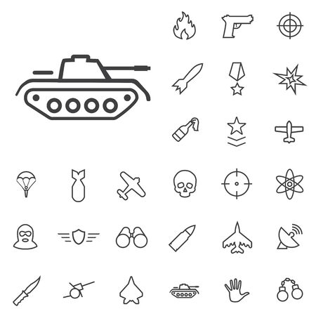war outline, thin, flat, digital icon set
