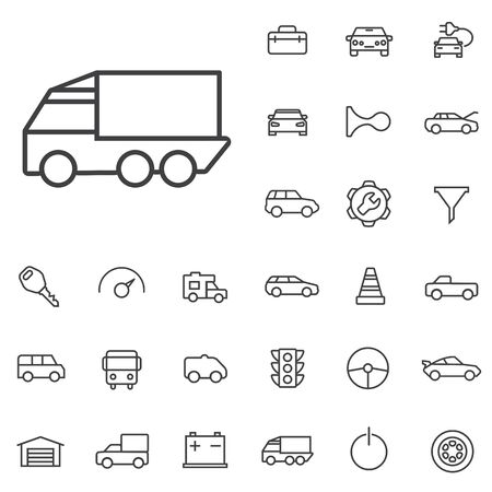 auto outline, thin, flat, digital icon set.
