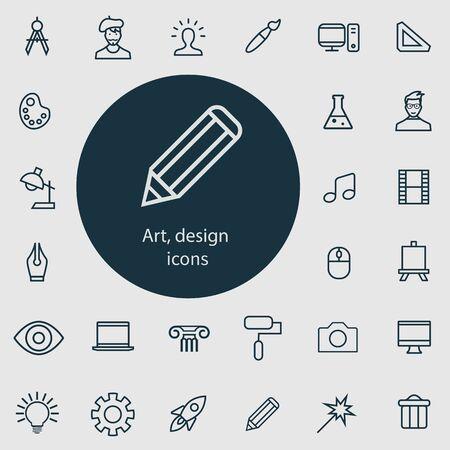 art, design outline, thin, flat, digital icon set. 向量圖像