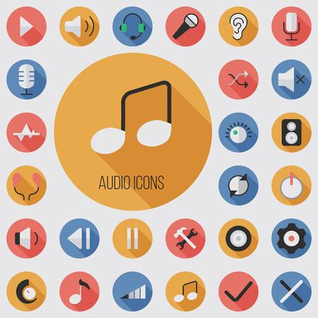 audio flat, digital icon set Ilustracja