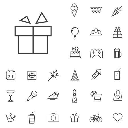 birthday outline, thin, flat, digital icon set