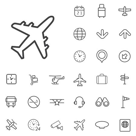 airport outline, thin, flat, digital icon set.
