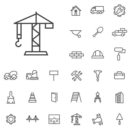 construction outline, thin, flat, digital icon set