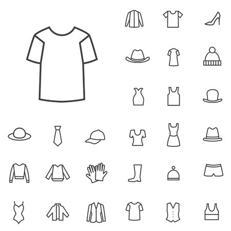 clothes outline, thin, flat, digital icon set Banque d'images - 130160018
