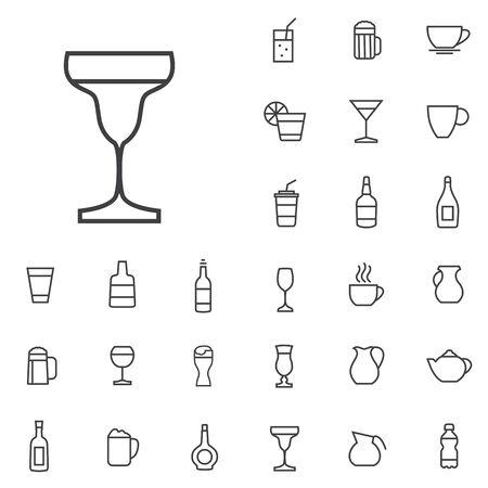 bebidas, contorno, delgado, plano, conjunto de iconos digitales Ilustración de vector