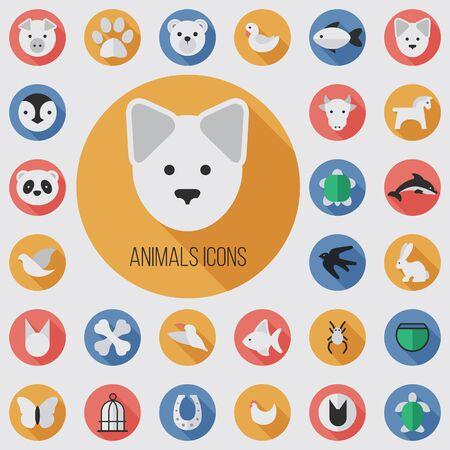 animals flat, digital icon set