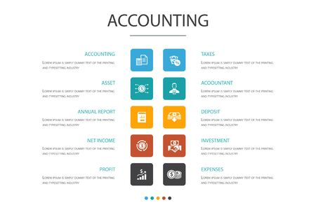 Accounting Infographic 10 option concept.Asset, Annual report, Net Income, Accountant simple icons
