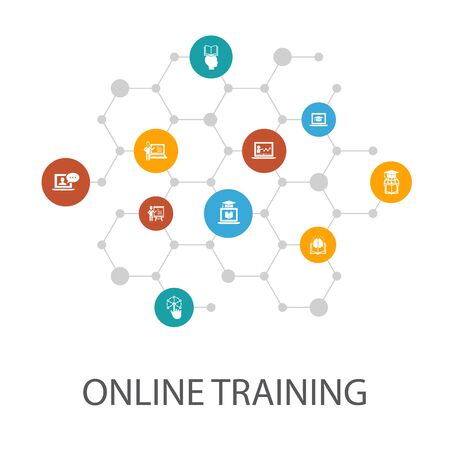 Online Training presentation template, cover layout and infographics. Distance Learning, learning process, seminar icons