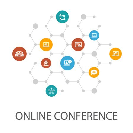 online conferencepresentation template, cover layout and infographics group chat, online learning, webinar, call icons