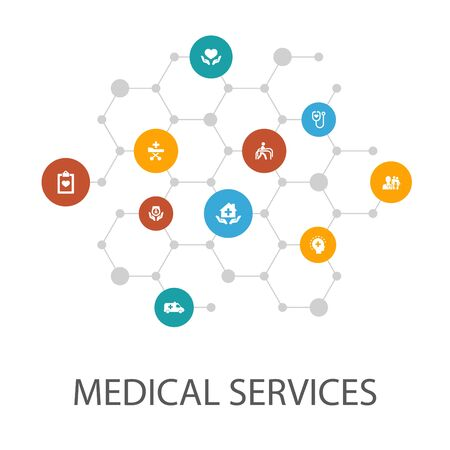 Medical services presentation template, cover layout and infographics. Emergency, Preventive care, patient Transportation, icons