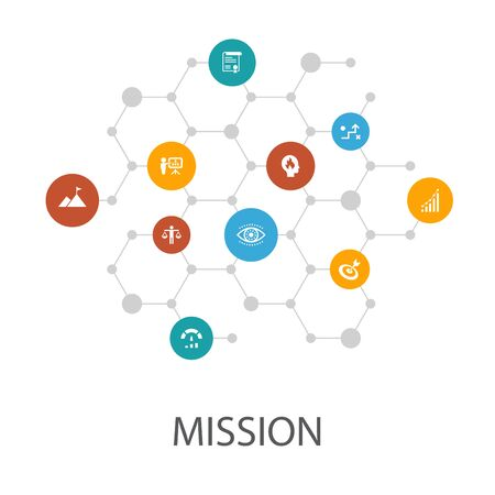 Mission presentation template, cover layout and infographics. growth, passion, strategy, icons