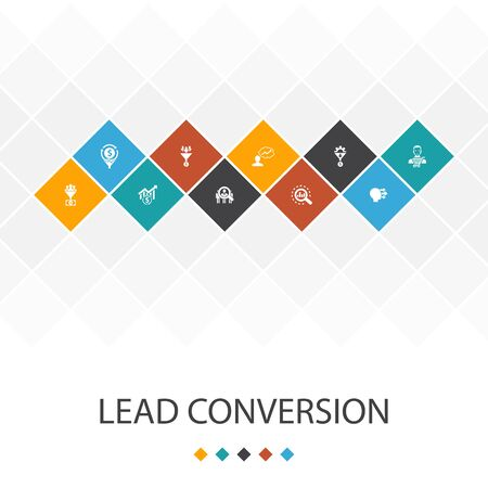 lead conversion trendy UI template infographics concept. sales, analysis, prospect, icons