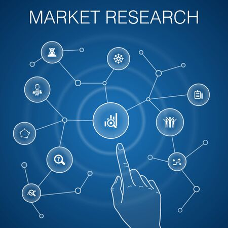 Market research concept, blue background with simple icons