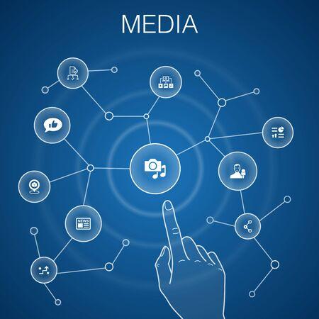 koncepcja mediów, niebieskie tło.news, reporter, infografiki, ikony media planu
