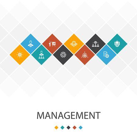 Management trendy UI template infographics concept.manager, control, organization, icons Ilustração