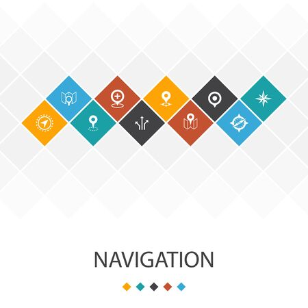 Navigation trendy UI template infographics concept. 向量圖像