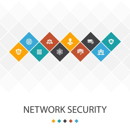 network security trendy UI template infographics concept.private network, online privacy, backup system, data icons